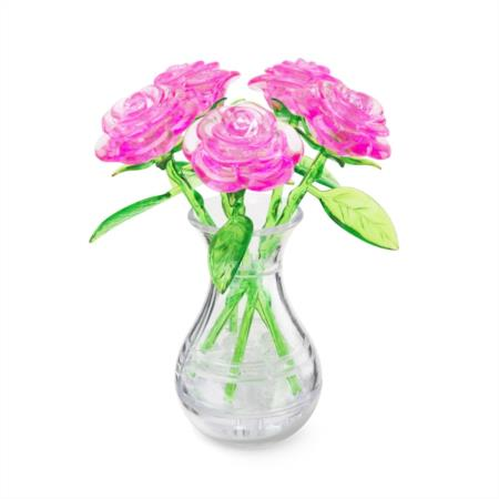 Original 3d Crystal Puzzle Pink Roses In A Vase 23332310739 Ebay